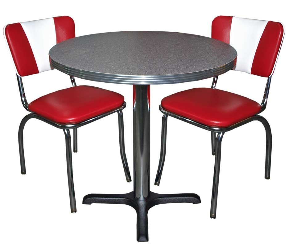 Ensemble diner am ricain vintage d coration us 50 39 s et 60 39 s - Table ronde rouge cuisine ...
