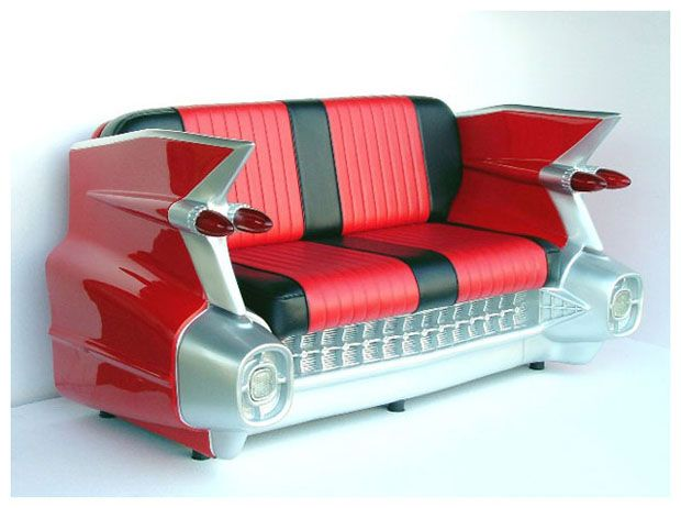 Banquette cadillac am ricaine vintage d coration us 50 39 s for Canape voiture